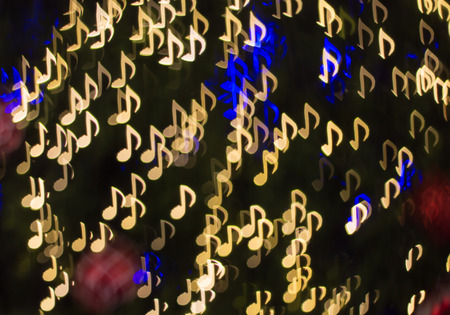 Defocused note melody background ( Bokeh ) for song Stock Photo