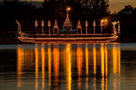 The Royal Barge Suphannahong decorated with beautiful lights for Loykratong festival,Thailand photo