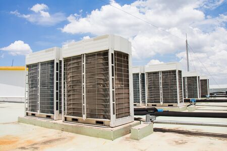 compressor of air conditioner install on the roof top Stock Photo