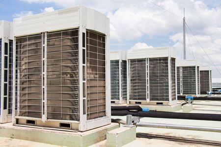 chiller: compressor of air conditioner install on the roof top Stock Photo