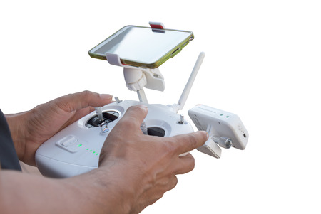 Controlling a remote helicopter drone with smartphone preview isolated