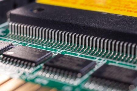 pcb: Small IC installed by soldering on the PCB board. Stock Photo