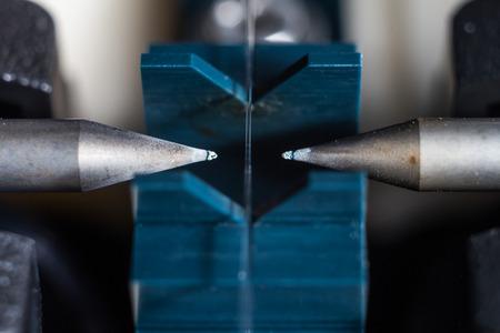 splice: Fiber Optic connected on splice tools Stock Photo