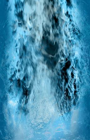 under fire: mezcla de fuego y fuertemente superficie del agua mirada como un volcán entró en erupción bajo el agua.