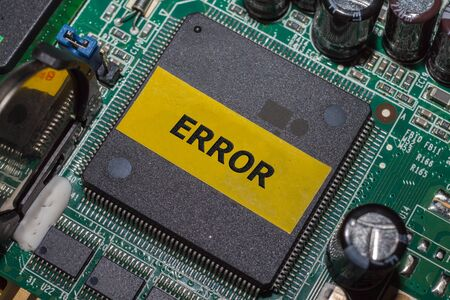 Ic: Error IC on PCB board and electronic semiconductor on board