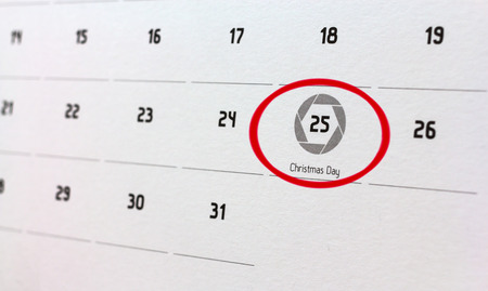 Mark a circle on the calendar date of Christmas 2015. Stock Photo
