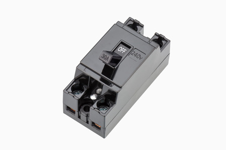 breaker: Circuit breaker 240v 30A isolated on white background.
