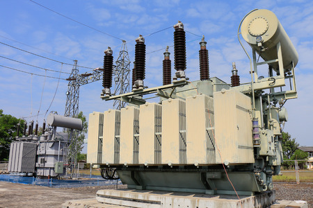 replaced: Old transformer was replaced with a new one because of overload. Stock Photo