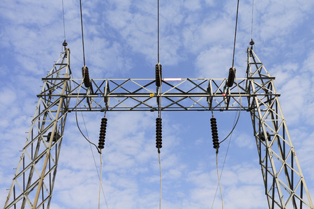 sub station: Incoming line 115 kilo volts in sub station. Stock Photo
