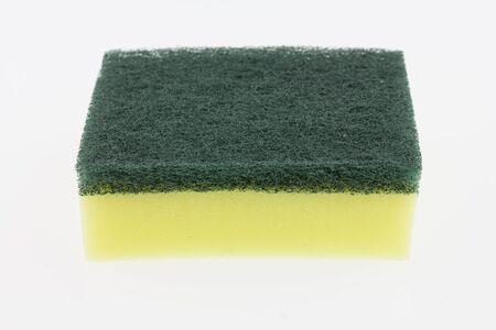 dishwashing: Dishwashing sponge on white background. Stock Photo
