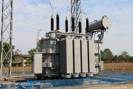 sub station: Power transformer in 115 kv sub station. Stock Photo