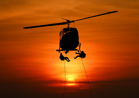 Isolated soldiers rescue helicopter operations. Stock Photo