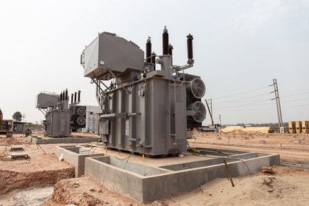 Power transformers are being installed for use in high voltage substations.