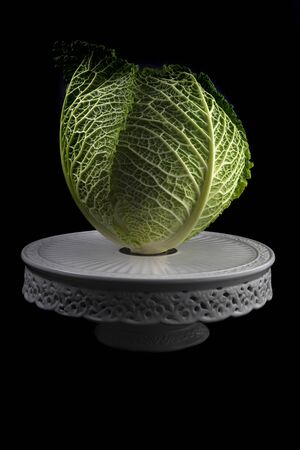 Lettuce on a cake plate