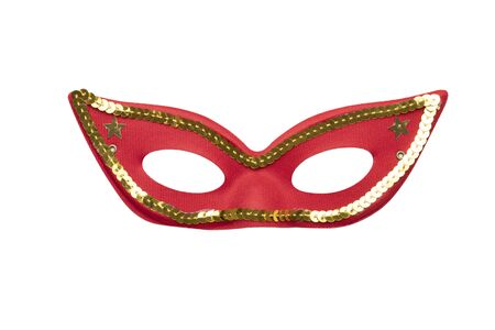 Red carnival mask with golden beads isolated on a white background