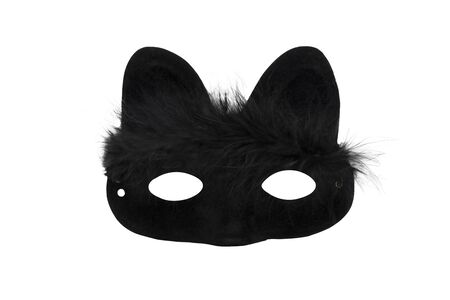 Black carnival mask with cat ears and hairs isolated on a white background