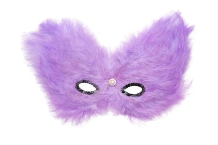 Purple hairy carnival mask with black beads isolated on white background