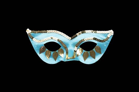 light blue carnival mask with golden beads and leaves
