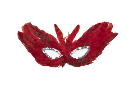 Dark red feather mask with silver beads isolated on a white background