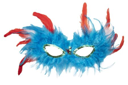 Fancy festive blue, orange, red feather mask isolated on a white background