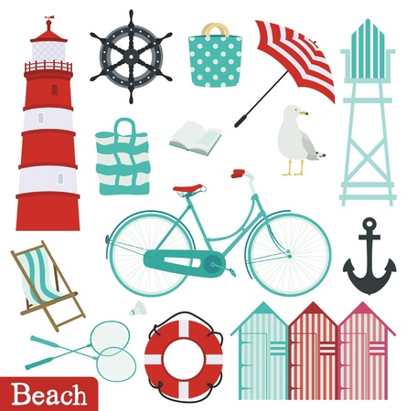 Beach holiday set Vector