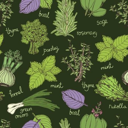 fresh herbs: Herbs on the dark background pattern