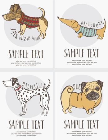 dalmata: Schizzo di disegno di stile del cane carte insieme