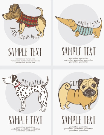 Sketch-style drawing of the dogs cards set Vector