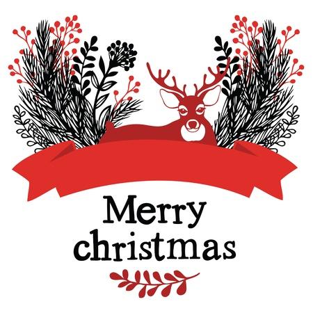 Christmas deer design card Vector