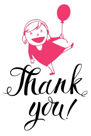 thanx: Girl and a balloon Thank you card Illustration