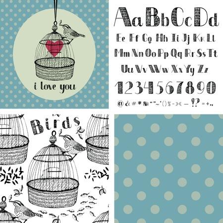 Hand drawing alphabet and birds Vettoriali