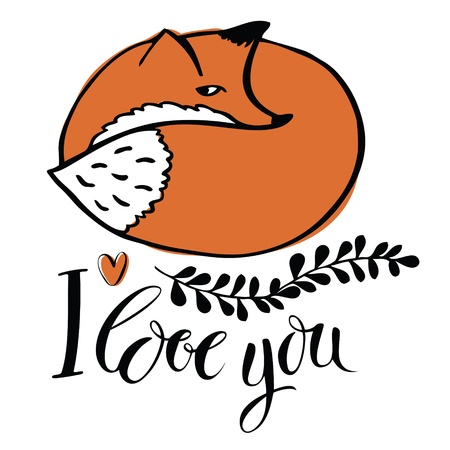 i love you: I love you  Card with the fox Illustration