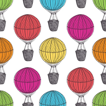 Old Hot Air Balloons Vector