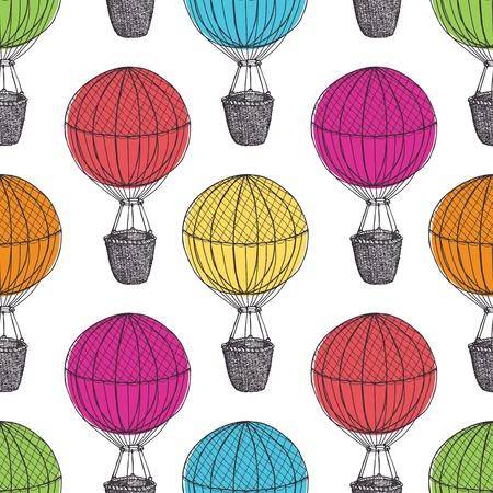 Oude Hot Air Balloons Stock Illustratie