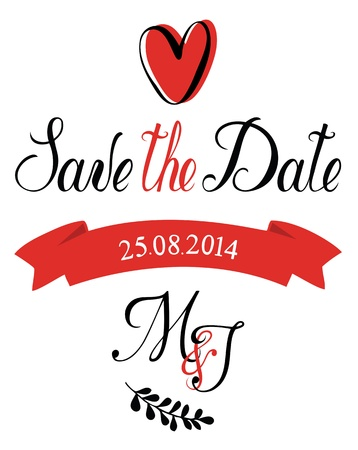 date: Save the Date M J Illustration