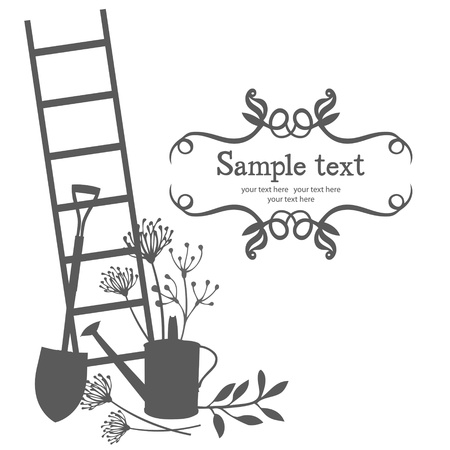 barn black and white: Silhouettes garden tools and herbs Illustration