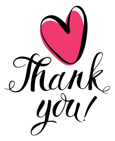 Thank you card with heart Vettoriali