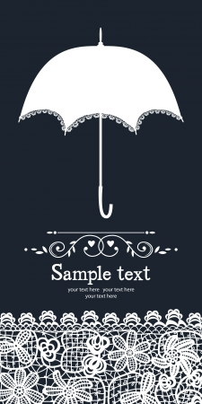 Umbrella and vintage lace card Vector