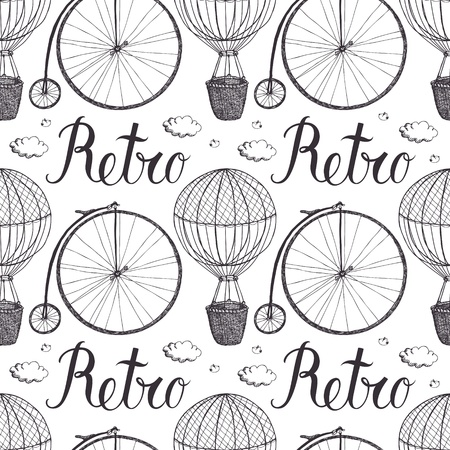 Vintage hot air balloon and bicycle pattern Vettoriali