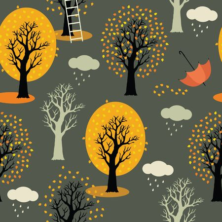 Autumn trees with yellow leaves, clouds and rain  Gray background Vector