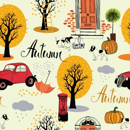 Dogs, vintage cars, pumpkins and autumn trees Vector