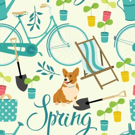 Spring gardening backrgound Vector