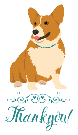 pembroke: Thank you card with dog Illustration