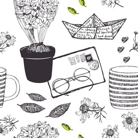 love letters: Morning letters background Illustration