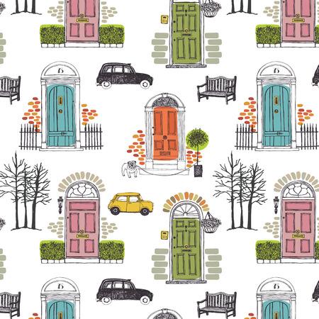 antik: Muster mit farbigen Türen