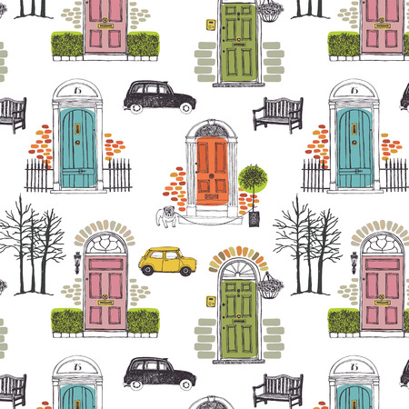 travel collage: Pattern with colored doors