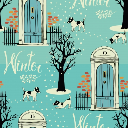Doors, dogs, snow and winter trees.  Seamless background Vector