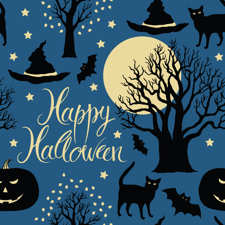 Happy Halloween, pumpkins, bats and cats.  Black trees and a bright moon on a blue background Vector