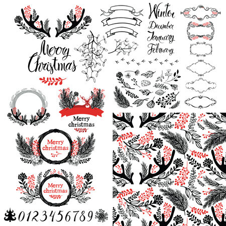Merry Christmas set Vector