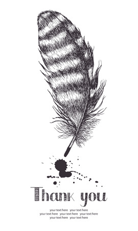 thank you card: Thank you card with feather